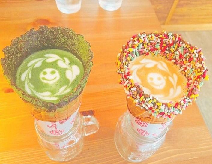 Cafeter a en jap n sirve el caf en conos de helado - Calorias de un cono de helado ...