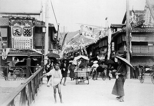 Una calle en Kioto en el año 1900