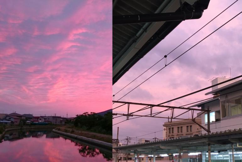 cielo rosado y purpura en japón
