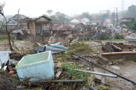 tifón Hagibis primeras destrucciones en Japón